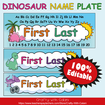 Name Plate Labels in Cute Dinosaurs Theme - 100% Editable