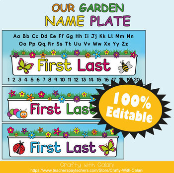 Name Plate Labels in Flower & Bugs Theme - 100% Editable