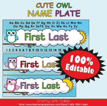 Name Plate Labels in Owl Theme - 100% Editable