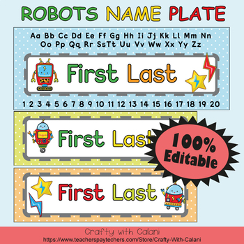 Name Plate Labels in Robot Theme - 100% Editable