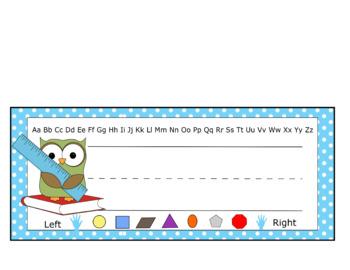 Name Plate - Owl Design - Blue Polka Dot
