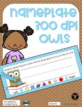 Name Plate - Owl Design - Blue Polka Dot *Freebie*