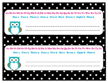 Name Plate Owl with Black White Polka Dot 11x3 with Alphabet and Numbers