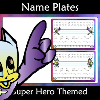 Name Plate Tags: Super Hero Editable