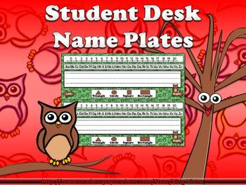 Name Plate for Student Desk (includes number line) Owls Theme King Virtue