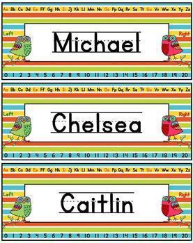 Name Plates 1 and 2 Lines Editable - Owl Themed Print and Cursive