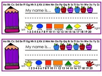 Name Plates Back to School Theme