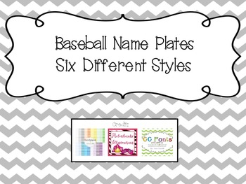 Name Plates- Baseball