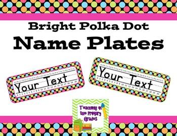 Name Plates Bright Polka Dots Editable