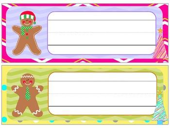 Name Plates : Christmas Gingerbread Men