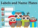Editable Labels and Name Plates : Christmas Owls, Winter Owl, Name tags