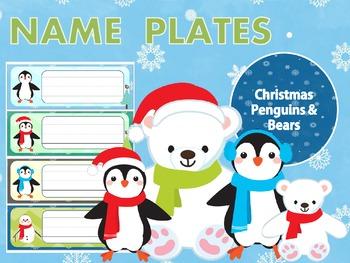 Name Plates : Winter Penguin and Polar Bears