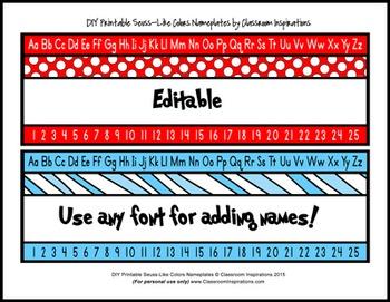Name Plates – Coordinates with Seuss-like Colors Classroom Theme
