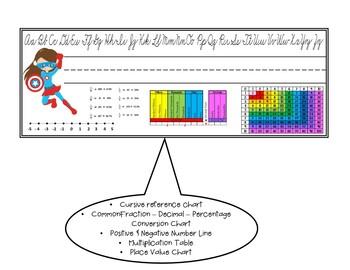Name Plates - Cursive with Math Helpers - Superhero Themed
