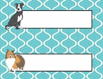 Name Plates:  Cute Dogs on Blue (EDITABLE!)