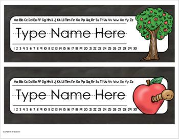 Name Tags Plates Desk Labels Apple Theme Editable