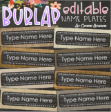 Name Tags Plates Desk Labels Chalkboard and Burlap Theme Editable