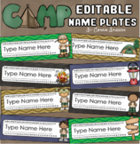 Name Tags Plates Desk Labels Camping Camp Out Theme Editable