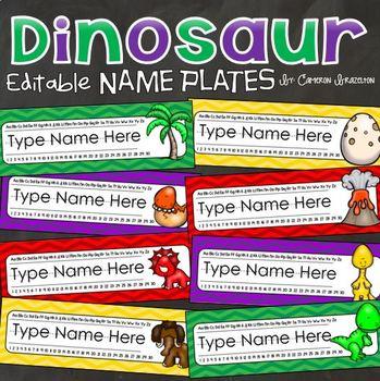 Name Plates Desk Labels Dinosaur Theme Editable