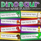 Name Tags Plates Desk Labels Dinosaur Theme Editable