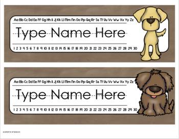 Name Tags Plates Desk Labels Dog Theme Editable