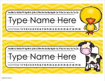 Name Plates Desk Labels Farm Theme Editable