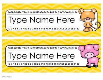 Name Tags Plates Desk Labels Farm Animals Theme Editable