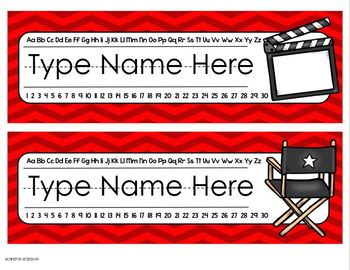 Name Plates Desk Labels Hollywood Movies Theme Editable