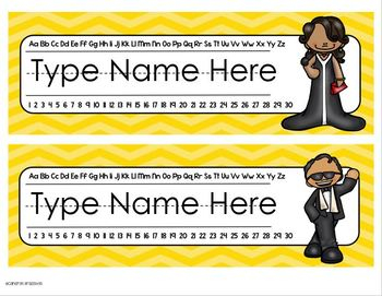 Name Tags Plates Desk Labels Hollywood Movies Theme Editable