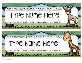 Name Plates Desk Labels Jungle Safari Theme Editable