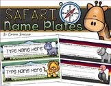 Name Tags Plates Desk Labels Jungle Safari Theme Editable