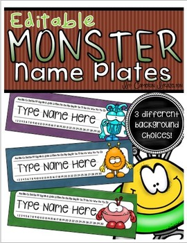 Name Plates Desk Labels Monsters Theme Editable
