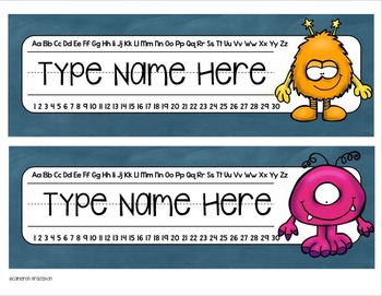 Name Tags Plates Desk Labels Monsters Theme Editable