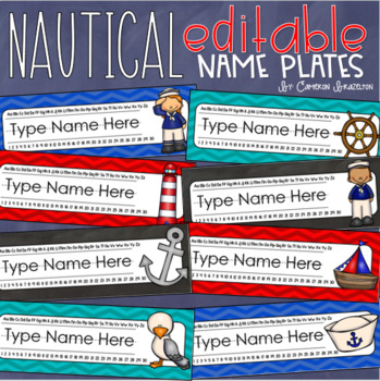 Name Tags Plates Desk Labels Nautical Sailing Theme Editable