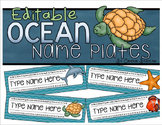 Name Tags Plates Desk Labels Ocean Under the Sea Theme Editable