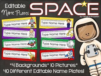 Name Plates Desk Labels Outer Space Theme Editable