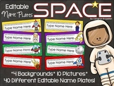 Name Tags Plates Desk Labels Outer Space Theme Editable
