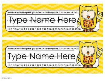 Name Plates Desk Labels Owl Theme Editable