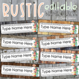 Name Tags Plates Desk Labels Rustic Farmhouse Shabby Chic Theme Editable