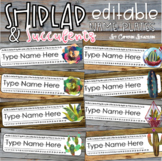 Name Tags Plates Desk Labels Shiplap and Succulents Theme Editable