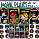 Name Tags Plates Desk Labels Small Mini Size for Lockers, Chairs, Cubby Editable