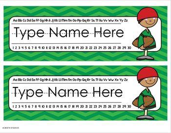 Name Plates Desk Labels Sports Theme Editable