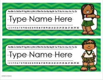 Name Tags Plates Desk Labels Tropical Tiki Luau Beach Theme Editable