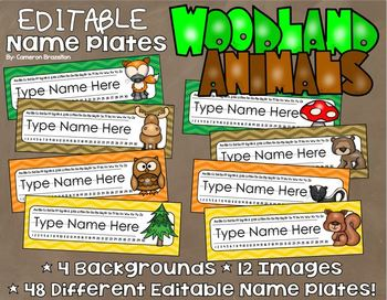 Name Plates Desk Labels Woodland Animals Forest Theme Editable