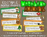 Name Tags Plates Desk Labels Woodland Animals Forest Theme Editable