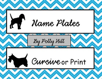 Name Plates: Dogs and Chevron (EDITABLE!)