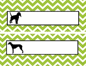 Name Plates:  Dogs and Green Chevron (EDITABLE!)