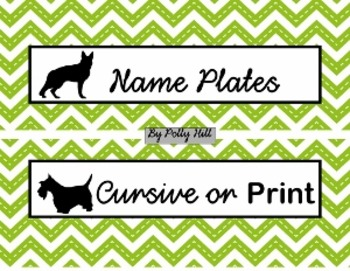 Name Plates:  Dogs and Green Chevron (EDITABLE!)