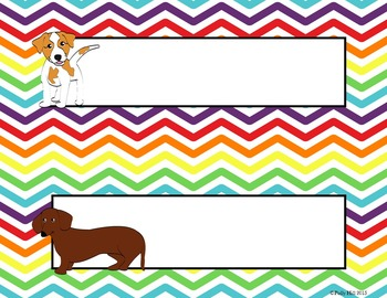 Name Plates:  Dogs on Rainbow Chevron {EDITABLE!}