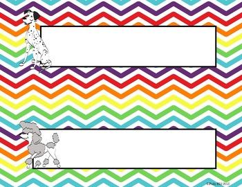 Name Plates:  Dogs on Rainbow Chevron {EDITABLE!}